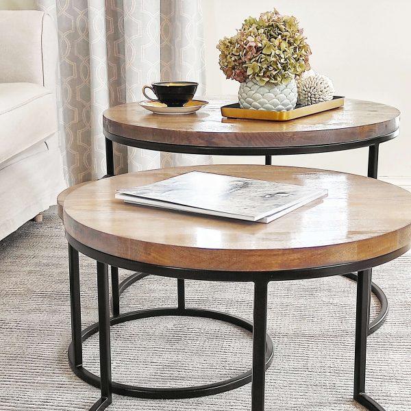 komplet okrągłych stolików kawowych